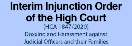 Interim Injunction Order of the High Court (HCA 1847/2020) – Doxxing and Harassment against Judicial Officers and their Families
